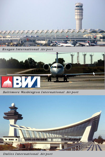 Reagan, BWI, Dulles International Airport Transprotation